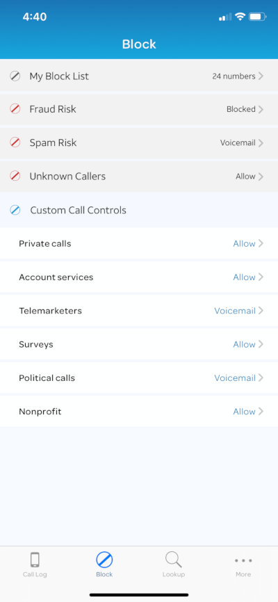 AT&T Call Protect Plus blocking options